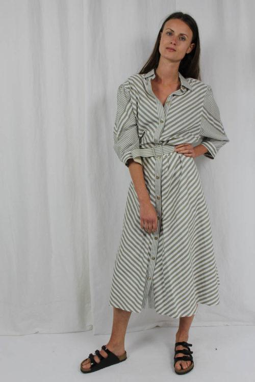 Kleid midi streifen grau weiß