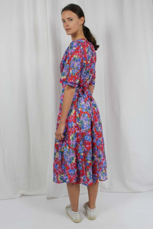 Kleid rot Blumenmuster 70er Jahre