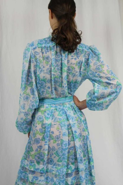 Lürman Modell Kleid blau 70er Jahre Second Hand