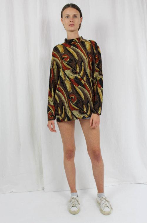 Shirt braun buntes Muster
