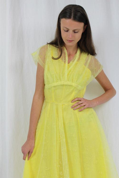 Vintagekleid hellgelb Abendkleid