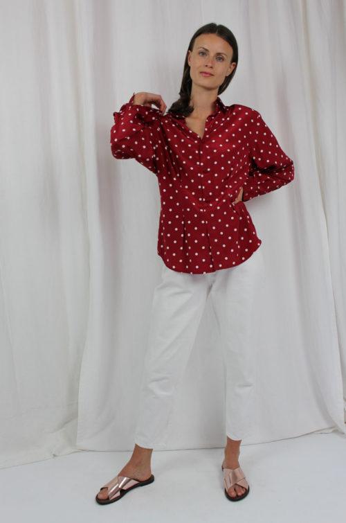 Vintage Bluse rot gepunktet