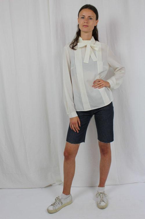 Vintage Bluse weiß langarm