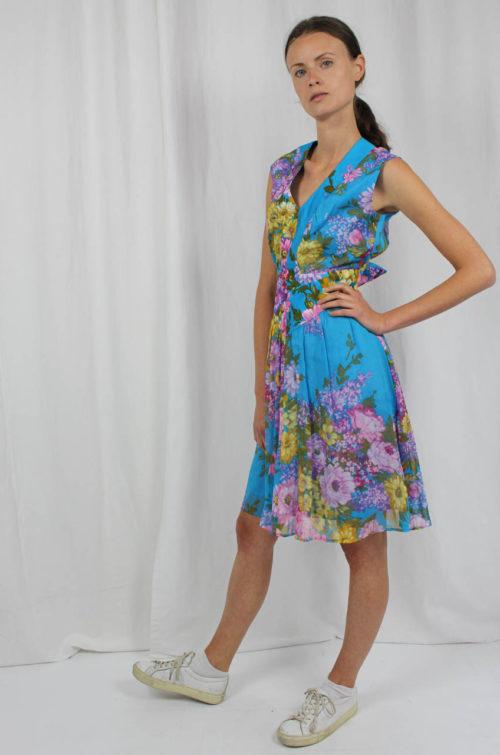 Vintage Kleid Lürman blau bunt