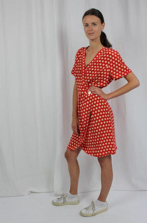 Vintage Kleid rot mit Punkten