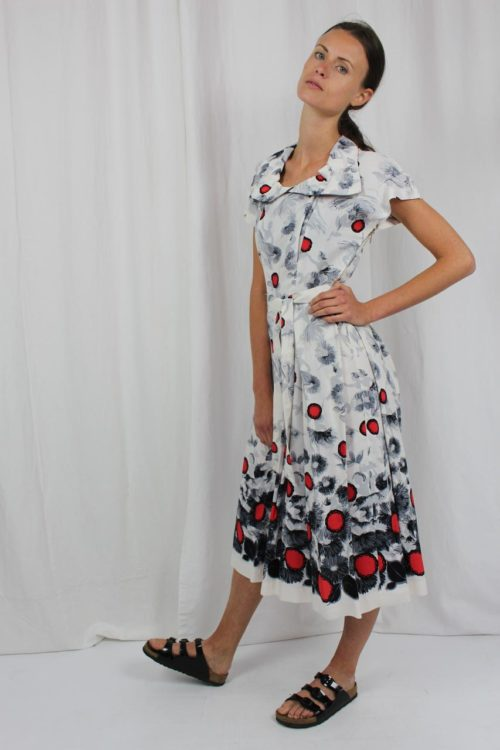 Vintage Kleid weiß mit Muster