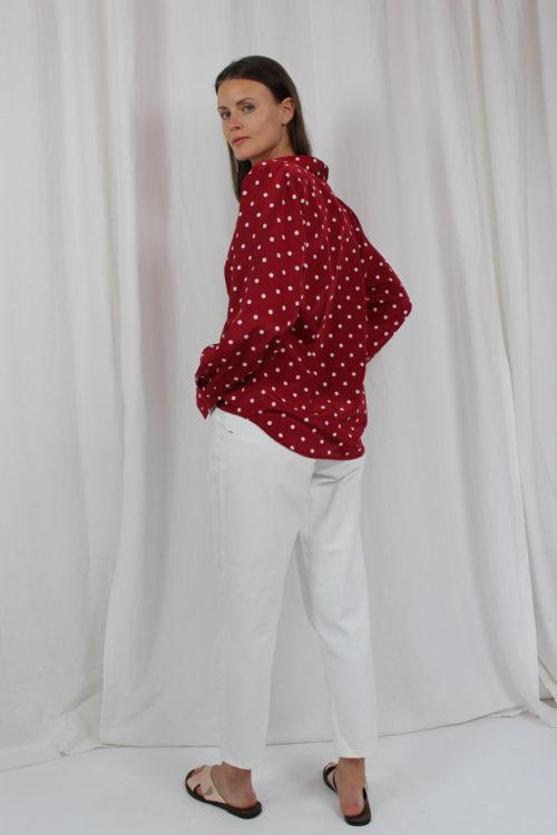bluse rot weiß gepunktet