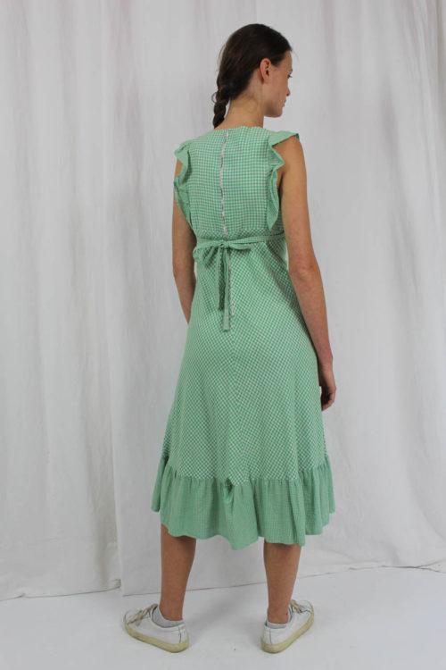 grün weißes Kleid mit Rüschen