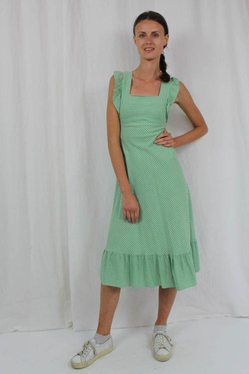 vintage dress grün weiß