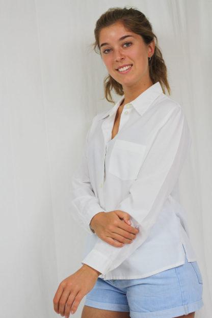 weiße Bluse langarm Second Hand