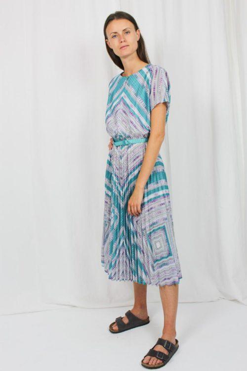 Kleid kurzarm türkis lila