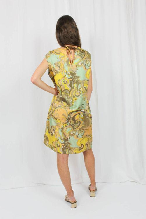 Kleid mit Muster grün braun gelb