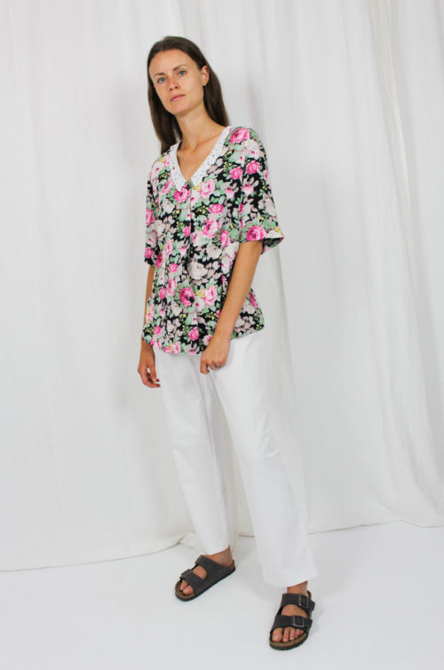 Vintage Bluse Blumenmuster