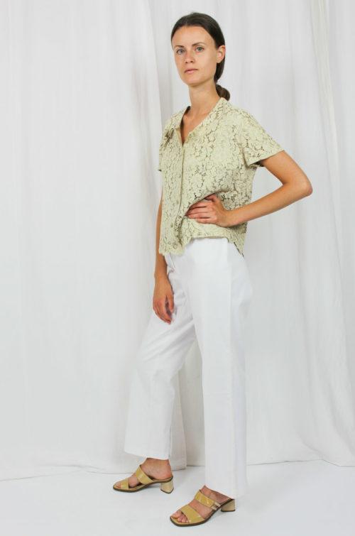 Vintage Bluse creme Spitze