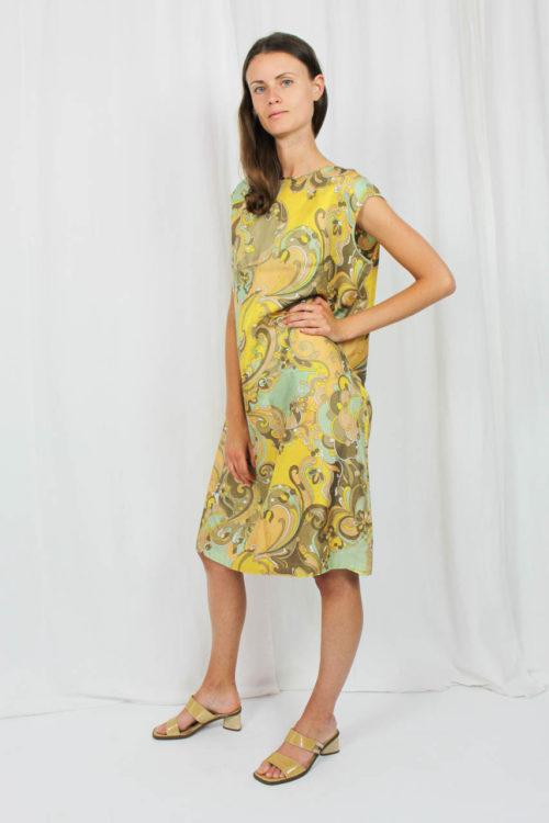 Vintage Kleid braun gelb