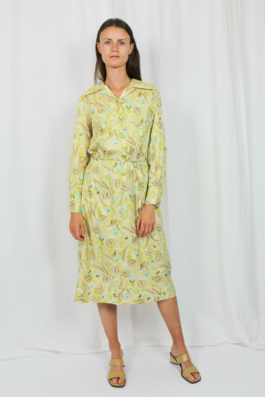 Vintagekleid grün mit Muster