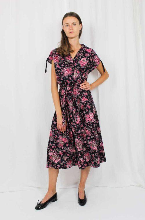 Vintage Kleid schwarz rosa