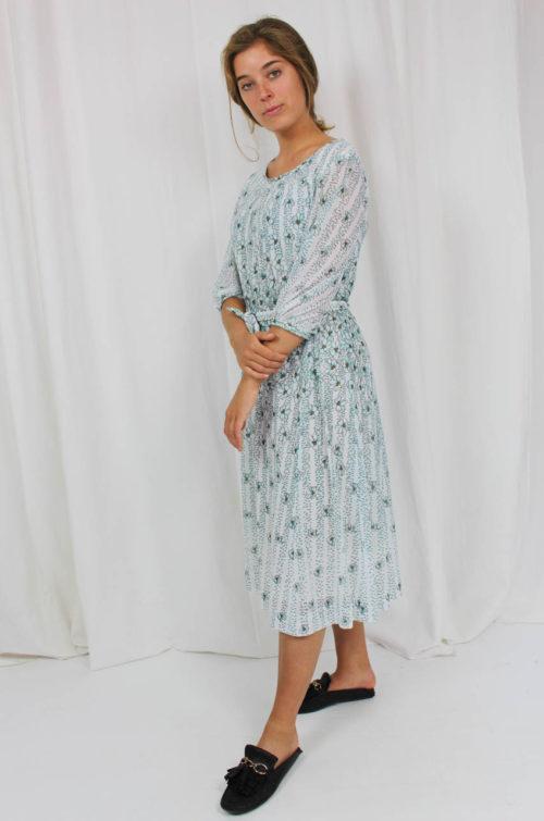 Vintage Kleid weiß grün
