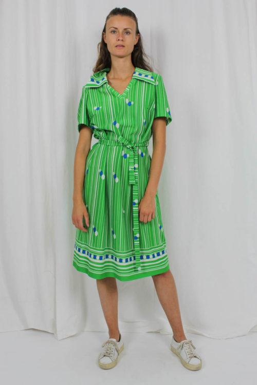 Kleid grün weiß gestreift