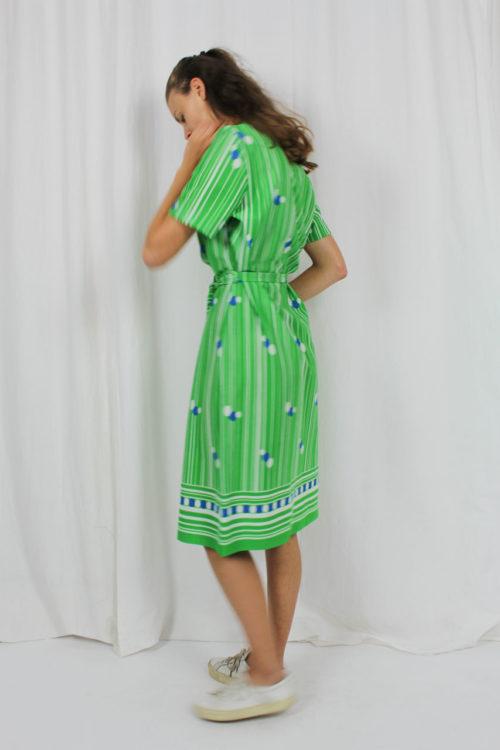 Kleid kurzarm Midi gestreift
