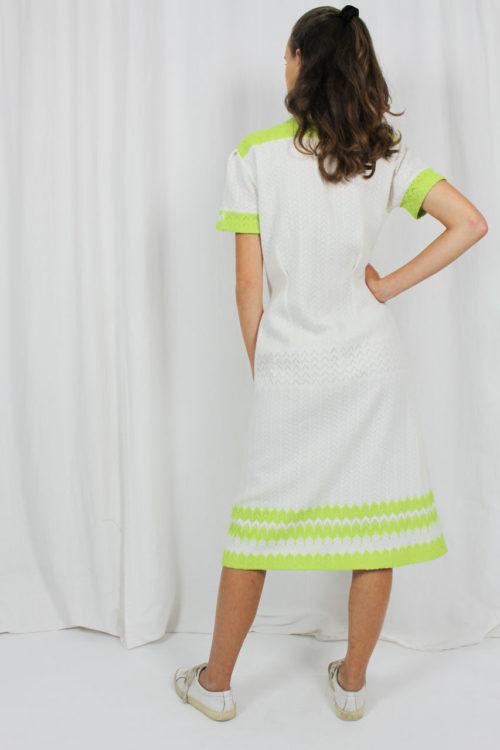 Kleid, midi, weiß, grün