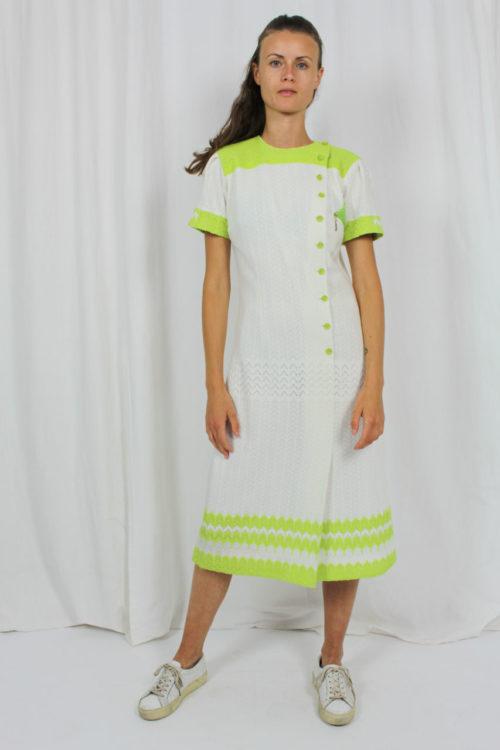 Kleid weiß grün Second Hand