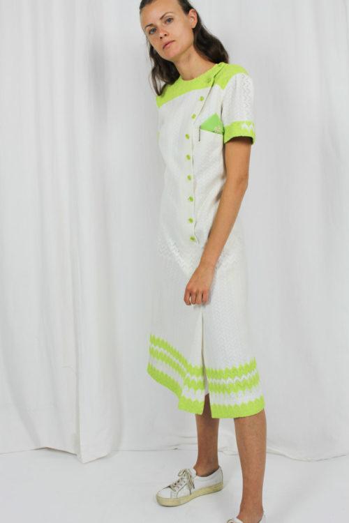 Strickkleid grün weiß