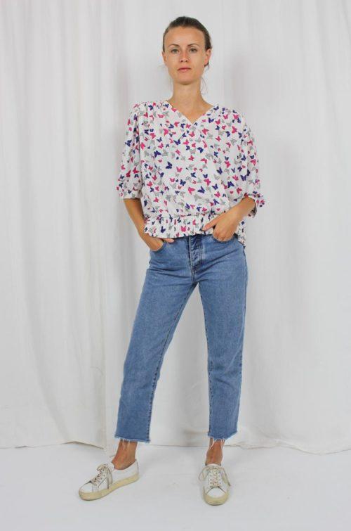 Vintage Bluse weiß bunt