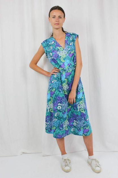 Vintage Kleid Midi blau
