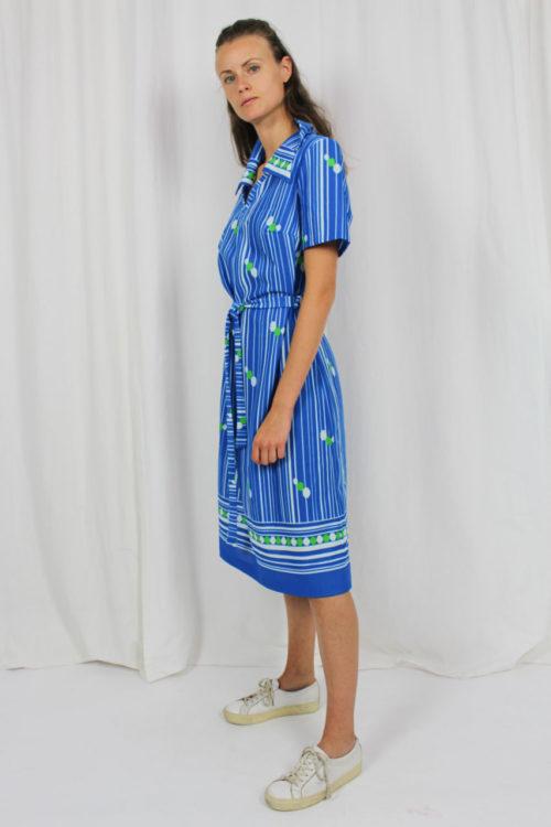 blaues Kleid, grüne Punkte