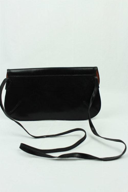 schwarze Lederhandtasche mit Riemen