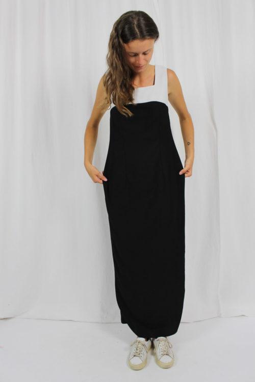 Abendkleid schwarz weiß Second Hand