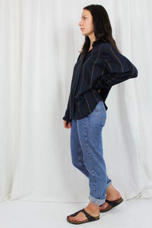 Bluse blau gestreift Van Laack