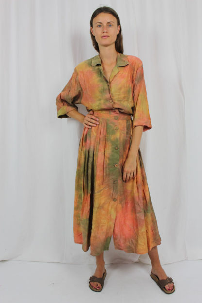 Kleid bunt batik Reverskragen