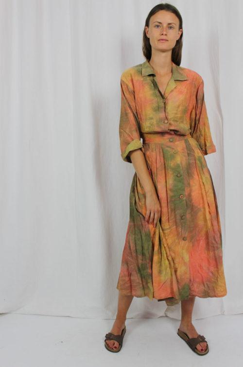 Vintage Kleid bunt Midi