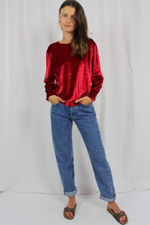 Vintage Pullover samt rot