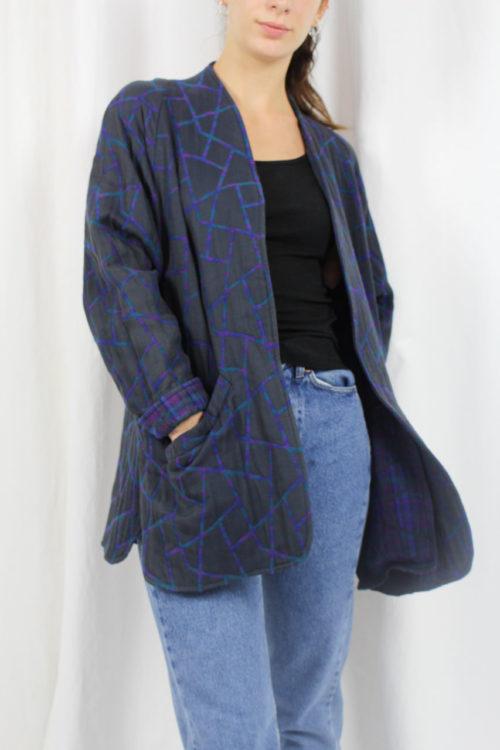 blaue Jacke mit Muster