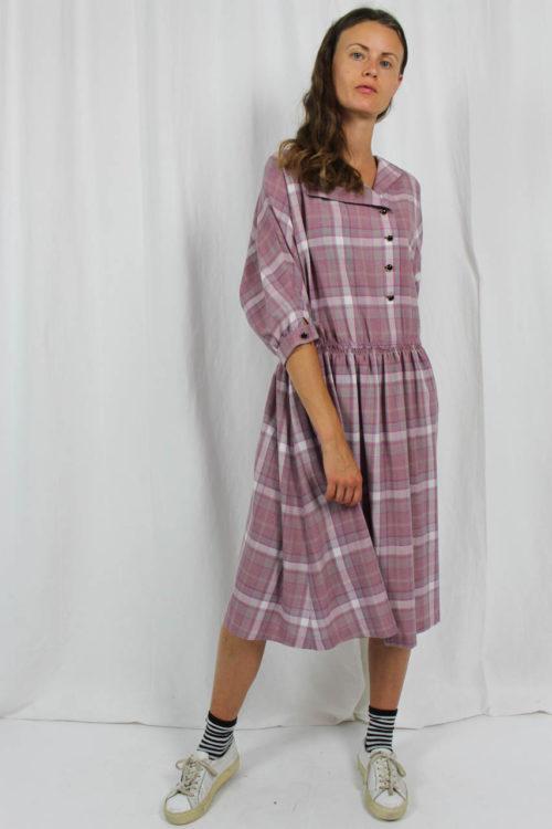 kariertes Kleid rosa 80er Jahre