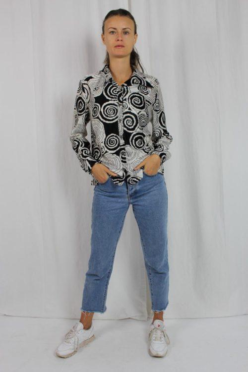 Bluse schwarz weiß Hemdblusenkragen