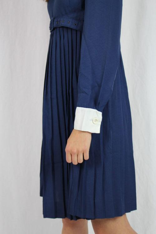 Kleid blau 60er Jahre Faltenrock