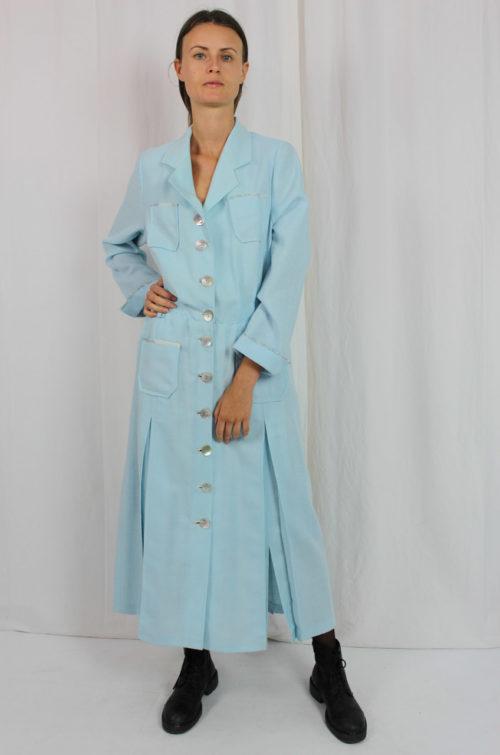 Kleid blau maxi Reverskragen
