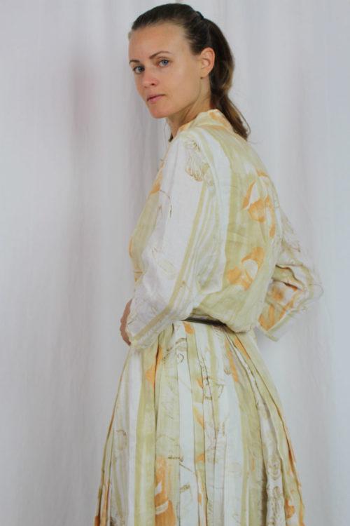 Kleid maxi orange weiß selbst genäht