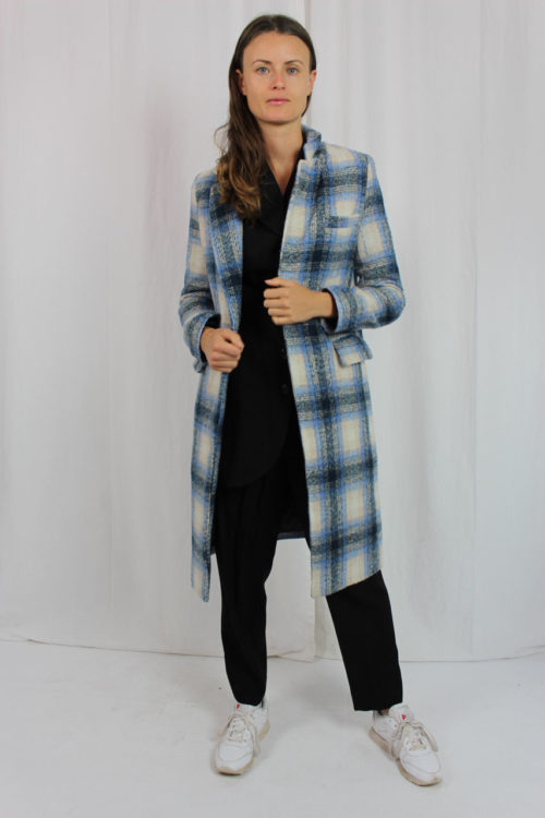Mantel blau mit großen Karos