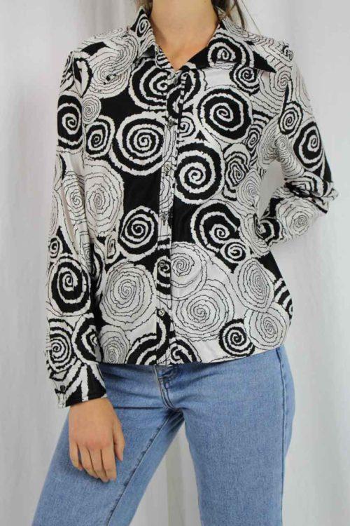 Vintage Bluse schwarz weiß