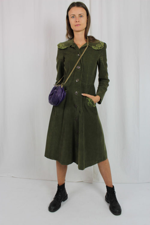 Vintage Cordkleid grün 80er Jahre