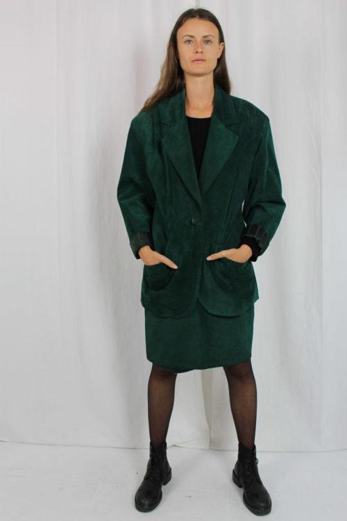 Vintage Kostüm echt Leder grün
