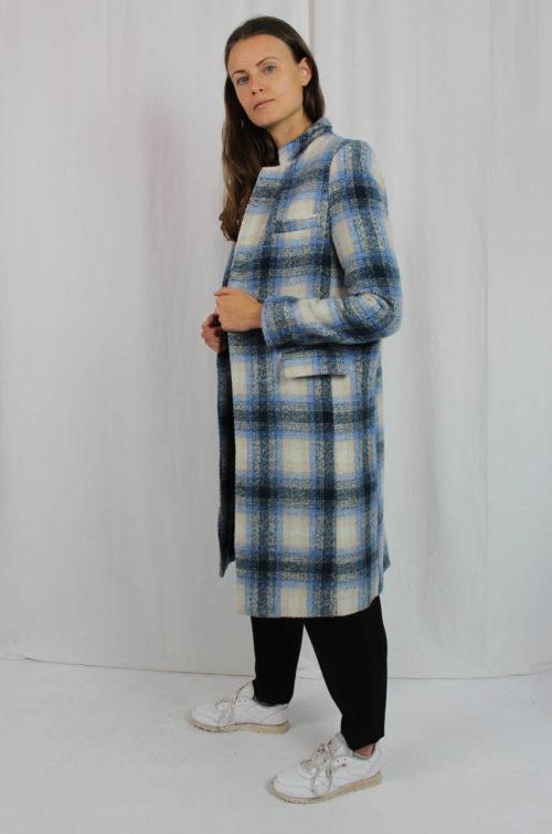 Vintage Mantel blau creme kariert