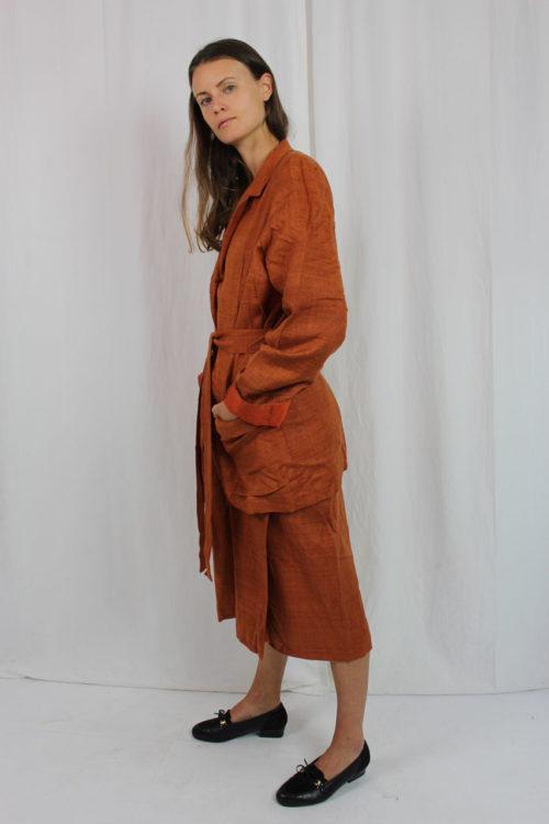 Zweiteiler orange Midirock und Jacke