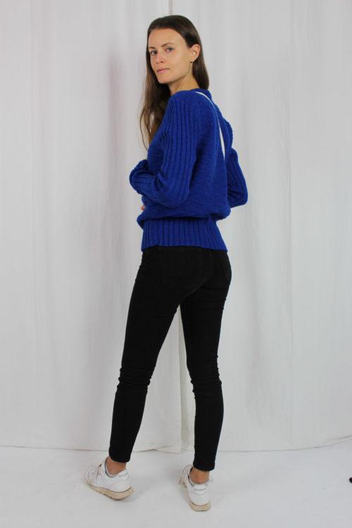 blauer selbstgestricketer Pullover 70er Jahre