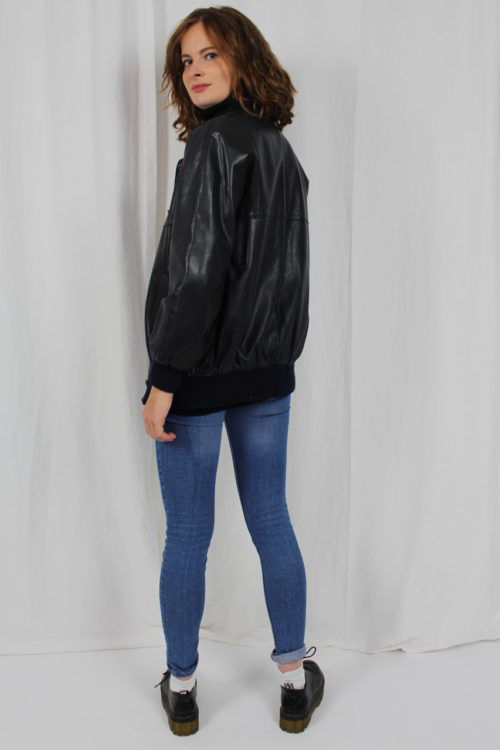 Jacke schwarz Leder
